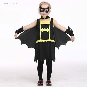 New 4pcs set dress+glasses+Cloak + Sleeve cosplay girl Batman Dress Children Halloween Costume Summer Dress Girls Sundress