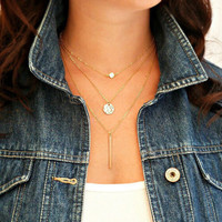 simple gold and silver plated double chain turquoise beads sequins necklace