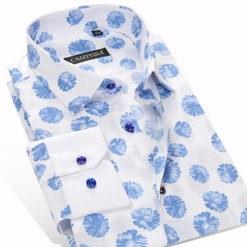 Spring Fashion Printed Mens Floral Casual Shirt Formal Business Wedding Slim Fit Brand Clothing Cotton Male Shirts
