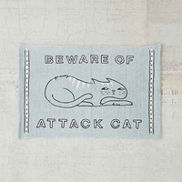 Plum & Bow Beware Of Cat Printed Rug- Blue 2X3