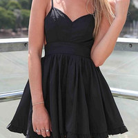 Black Spaghetti Strap Pleated Flare Dress -SheIn(Sheinside)