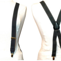 Vintage Grey Braces,PELICAN U.S.A. Suspenders,Stretch Elastic Braces,X Back Clip On Braces,Grey & Black Suspenders,Business or Formal Wear