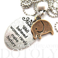 Elephant Animal Pendant Necklace in Silver with Quote | DOTOLY