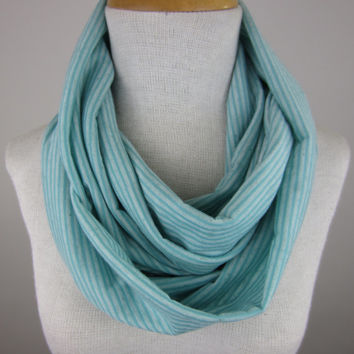 Mint Infinity Scarf - Mint Green Scarf - Green Striped Jersey Scarf