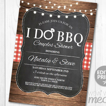 I Do BBQ Invitation Couples Shower Printable Invite Engagement Party INSTANT DOWNLOAD Lights Chalk Personalize Editable Printable Edit