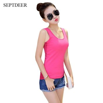 SEPTDEER Hot Sale Elegant Racerback Summer Tee plus size XXXXXL Vest Cotton Sleeveless Large Sizes 6XL Women tank tops dropship