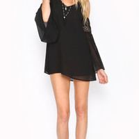OFF THE SHOULDER BABYDOLL LACE DRESS - BLACK