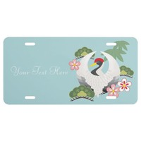 Japanese Lucky Symbols Cute Cool Light Blue License Plate