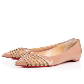 Christian Louboutin Fashion Edgy Rivets Pointed  Hollow Flats Shoes