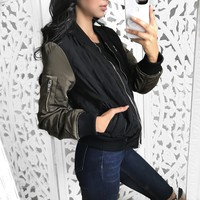 SMALL & MEDIUM - Janina Bomber Jacket (BLACK/OLIVE)