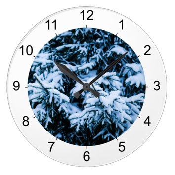 Snowfall Winter Christmas Tree Large Clock