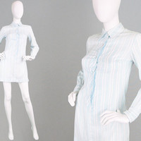 Vintage 70s Mini Dress Pastel Blue Short Floral Dress Vertical Stripes Cotton Shirtdress Dagger Collar Petite Womens Small Pointed Collar