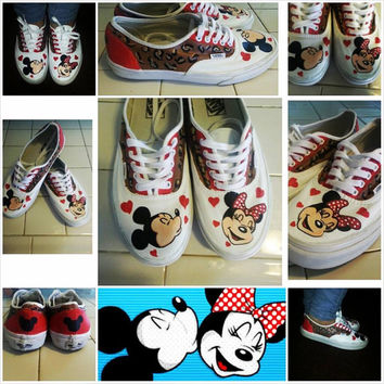 Custom Painted shoes , Leapord Minnie and Mickey design
