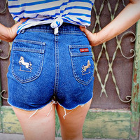 Vintage High-Waisted Rider Shorts with Horse Emblem by Lord Isaacs Equestrian