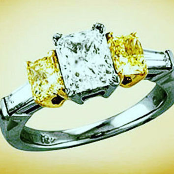 3.25ct Radiant Cut Diamond Engagement Ring GIA certified Fancy Yellow Diamonds