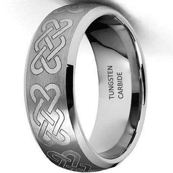 CERTIFIED 8mm Braid Pattern Laser Engraved Celtic Design Tungsten Wedding Band