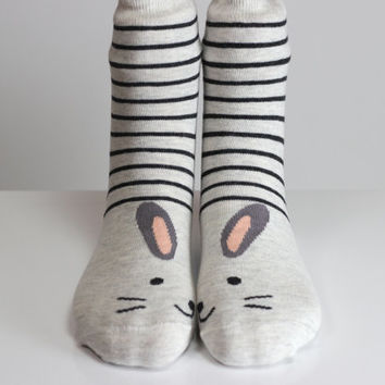 Mouse Socks Striped Socks Black Striped Mouse Ears Women Girls Boys Socks Women Socks Funny Socks Ankle Socks Animal Socks Cute Fun Socks