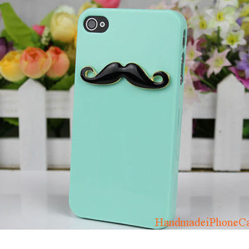 Handmde hard Case Cover with  Black Moustache in Mint For iPhone 4, 4s, 5
