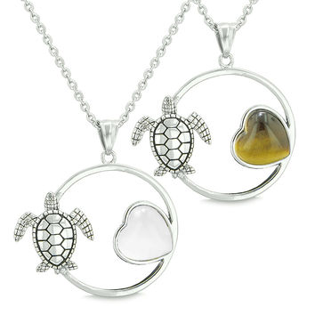 Amulets Cute Sea Turtles Love Couples or Best Friends White Cats Eye Tiger Eye Pendant Necklaces