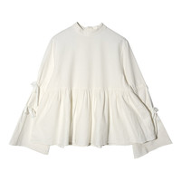 Self-Tie Sleeve Ruched Blouse