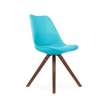 Viborg Mid Century Blue Side Chair with Walnut Wood Base (Set of 2)