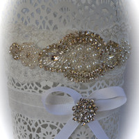 Wedding Garter Set White Stretch Lace Heirloom Rhinestone Pearl Handmade Crystals Custom