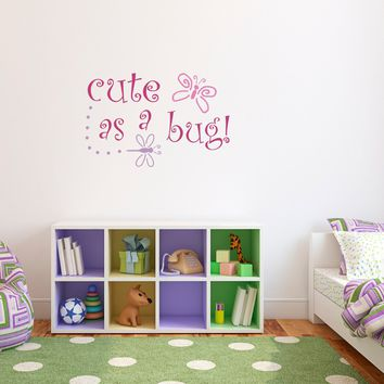 Cute as a Bug Wall Decal - Butterfly and Dragonfly Wall art - Children Wall Decals
