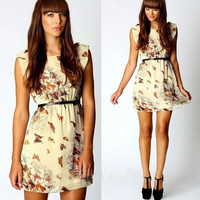 Women Summer Retro Skater Floral Butterfly Print Swing Dress Sundress S-XL = 1645873988