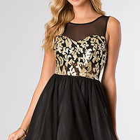 Black and Gold Sleeveless Cocktail Dress by LA Glo