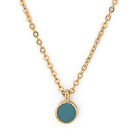 Small Baby Blue Circle Necklace