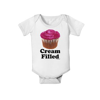Cream Filled Pink Cupcake Design Baby Romper Bodysuit by TooLoud