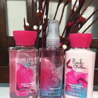 Bath & Body Works PINK CHIFFON,3 oz travel size lotion, shower gel, mist,GIFT SET...
