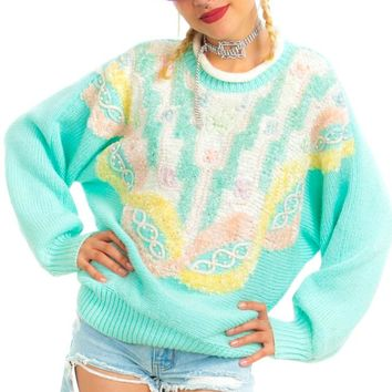 Vintage 90's Pastel Pearly Granny Sweater - One Size Fits Many