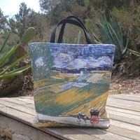 Tote bags, pictured tote bag, Van Gogh painting copy printed, beach totes, handmade handbags, casual chic bag made in France.
