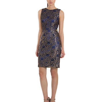 Js Collections Metallic Floral Embroidered Dress