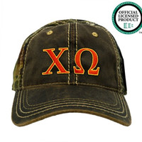 Chi Omega (Chi O) Camo Baseball Hat | Red & Yellow Letters