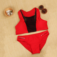 Red Mesh Bathing Suit Bikinis Swimwear Swimsuit