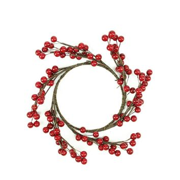 "9"" Decorative Artificial Shiny Red Berries Christmas Candle Holder Ring"