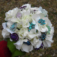 "Brooch Wedding Bouquet, Custom, Peacock, Bridal, , brooch bouquet, 12"" Crystals Fabric Flower Bouquet, weddings, Turquoise"