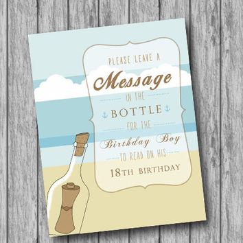 INSTANT Download Nautical Birthday Message in a Bottle Sign, Sail Anchor Navy Blue, Nautical Birthday, Bottle Reception Sign(Printable File)