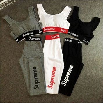 Supreme Sexy High Waist Cotton Sports Yoga Vest Pants Set Two Piece Sportswear