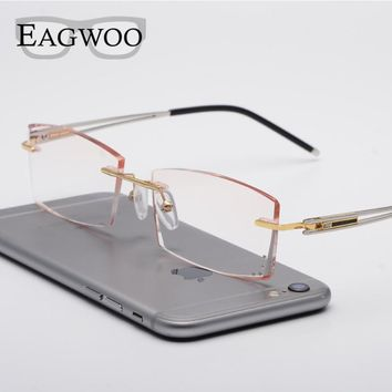 Alloy Eyeglasses Men Rimless Prescription Reading Myopia 1.61 1.67 Crystal Progressive Glasses Big Spectacle Sunglasses 880010