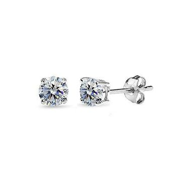 AUGUAU Sterling Silver 4mm Stud Earrings Made with Swarovski Crystals