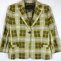Banana Republic Size 6 Green Plaid Blazer Jacket Short Waist Lined