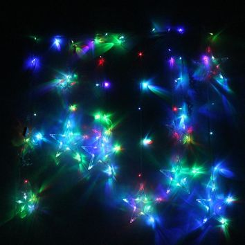 2M 138 LED String Light Christmas Wedding Party Decor LED String Fairy Window Outdoor Lighting Wall Star Fairy Lamp