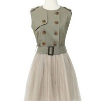 PUNK PRINCESS ARMY GREEN TULLE DRESS