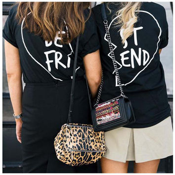Best Friends T shirt Women Summer 2016 Best Friend Graphic Tees Women Printed Short Sleeve Punk Rock T-shirts