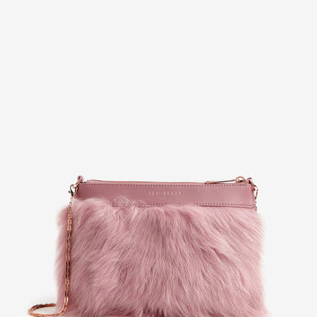 Faux fur leather clutch bag - Pink | Bags | Ted Baker UK