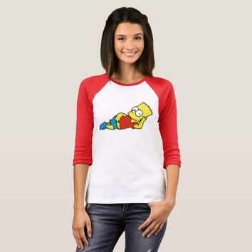 French Girl Pose Funny Bart Simpson T-Shirt
