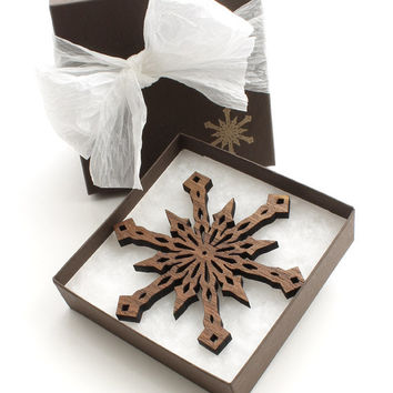 Black Walnut Wood Snowflake Ornament - Holiday Decor 2012 . Timber Green Woods